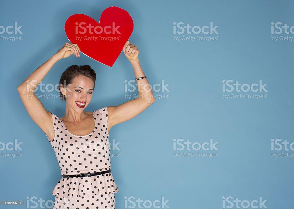 Woman holding Valentine stock photo