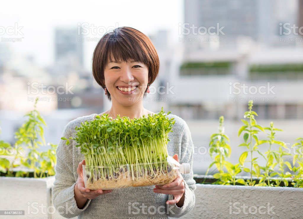 Woman holding vegetables growing in plastic bottle stock photo