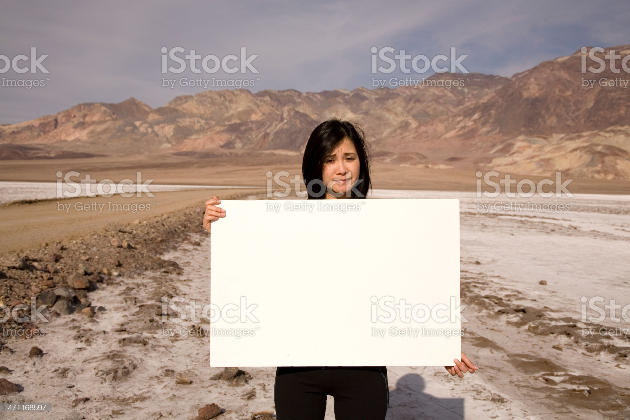 woman holding white board royalty-free stock photo