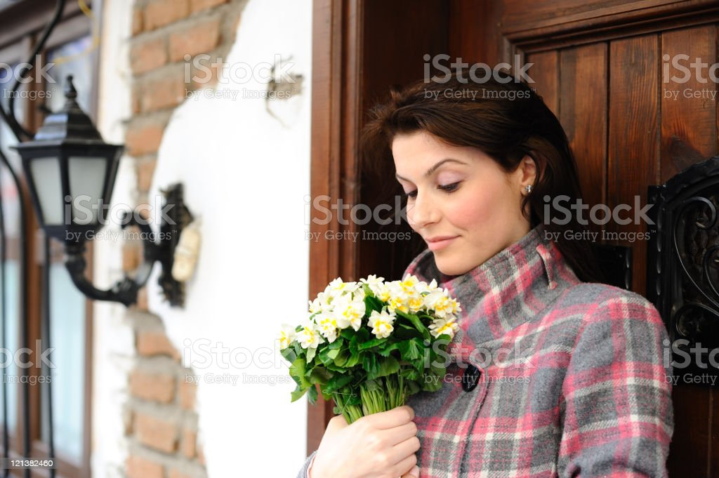Woman holding white bouquet royalty-free stock photo
