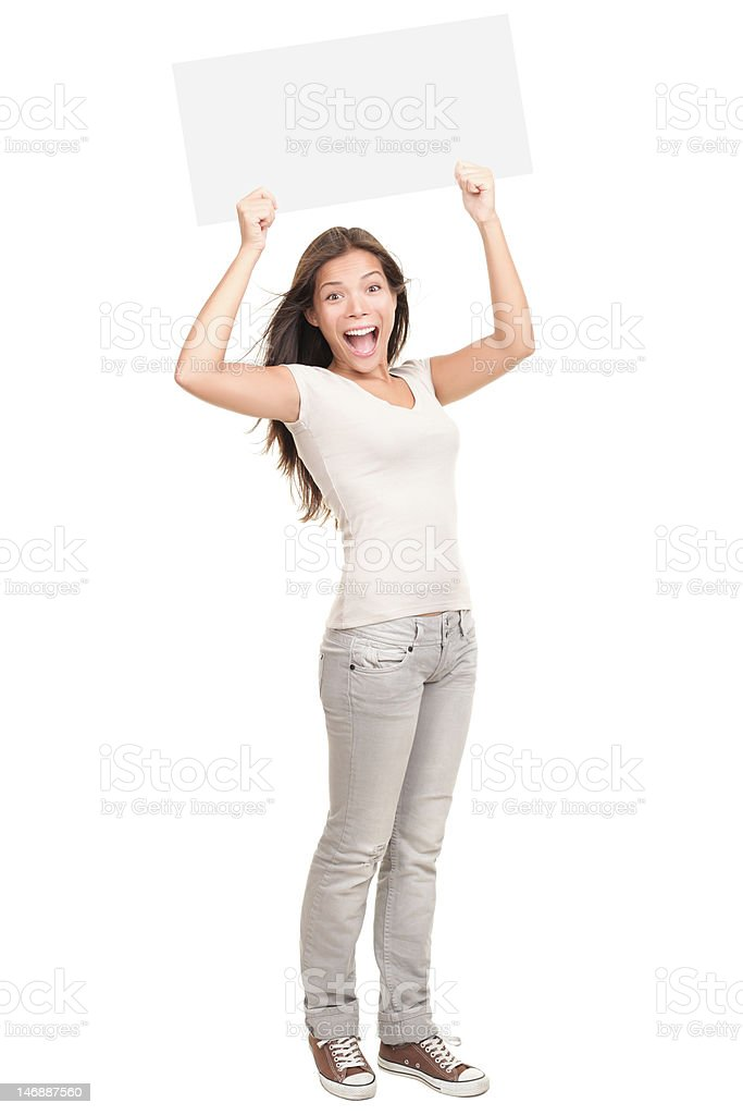 Woman holding white sign cheering stock photo