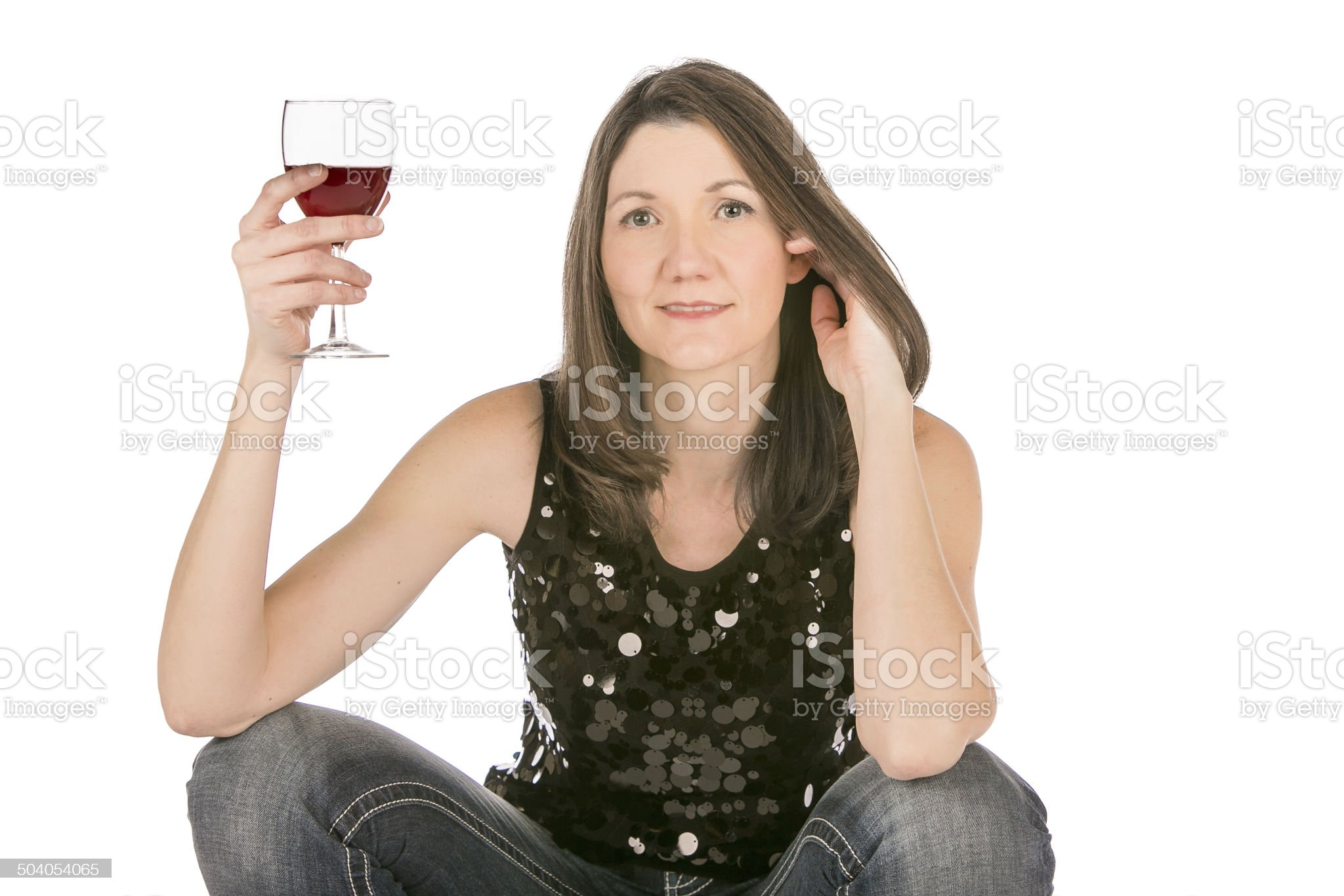 woman holding wine glass casual on white background royalty-free stock photo