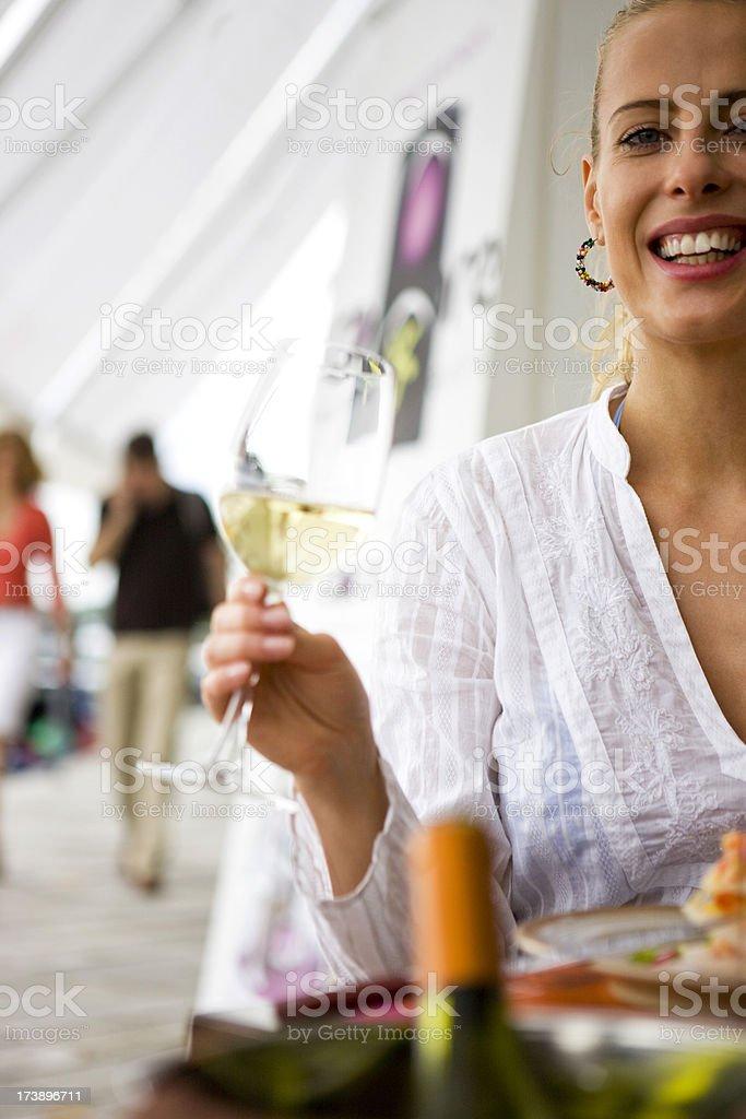 Woman holding wine royalty-free stock photo