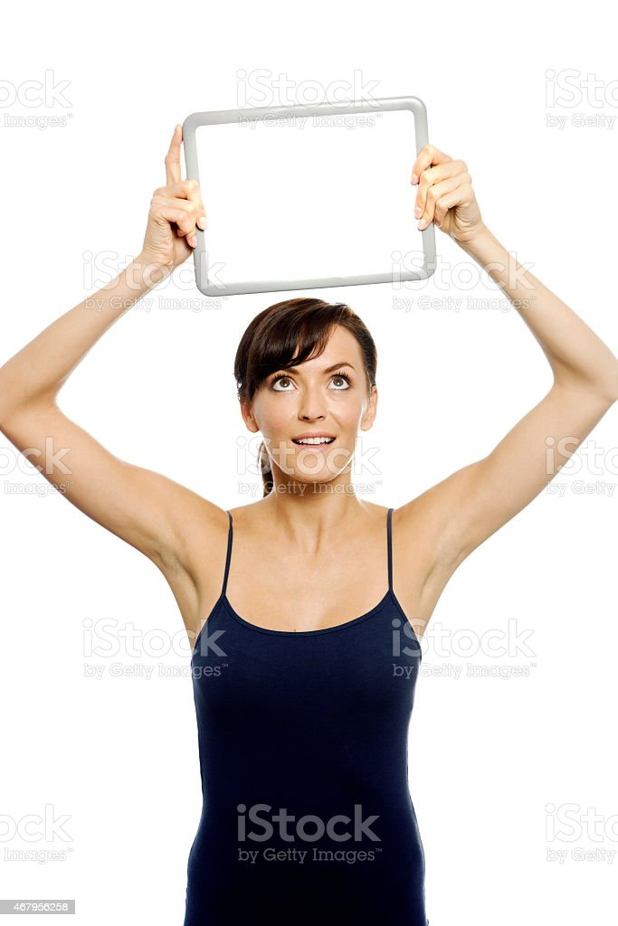 Woman holding wipe board stock photo