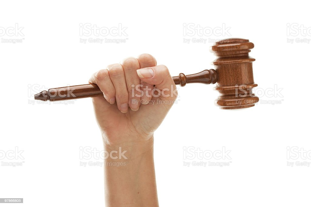 Woman Holding Wooden Gavel Isolated on White royalty-free stock photo