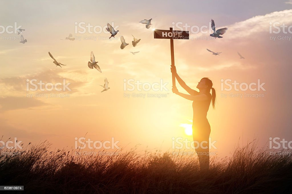 Woman holds sign with word hope and praying on sunset stock photo