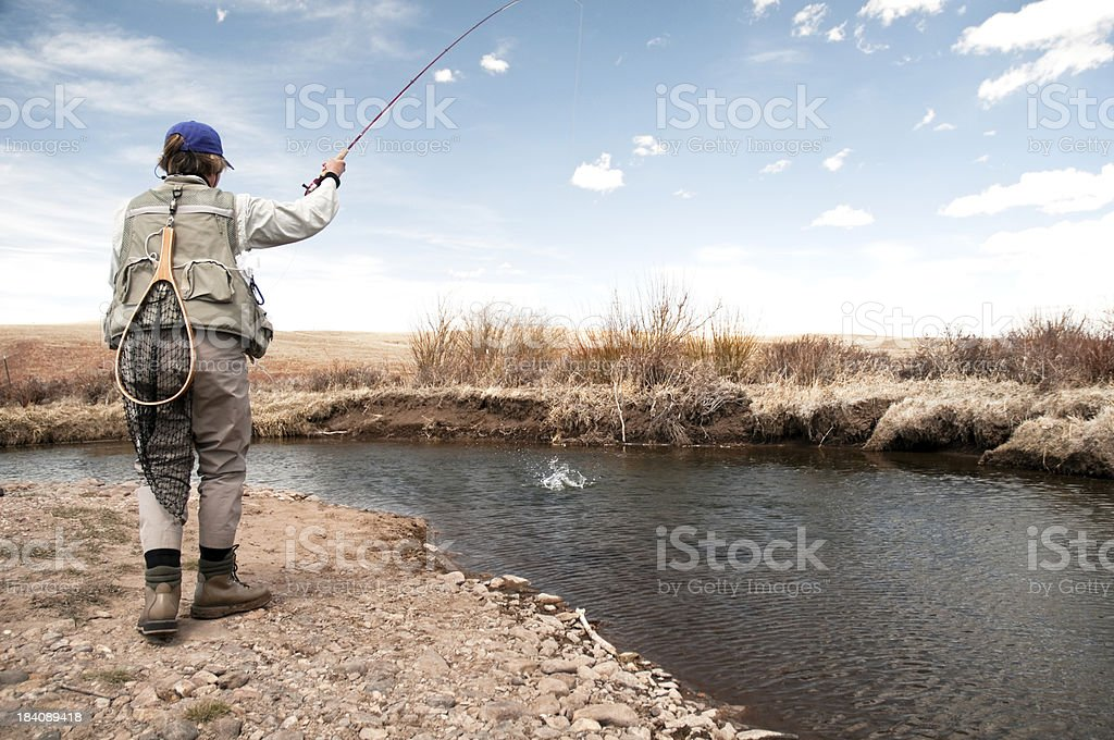 Woman Hooking Into a Trout stock photo