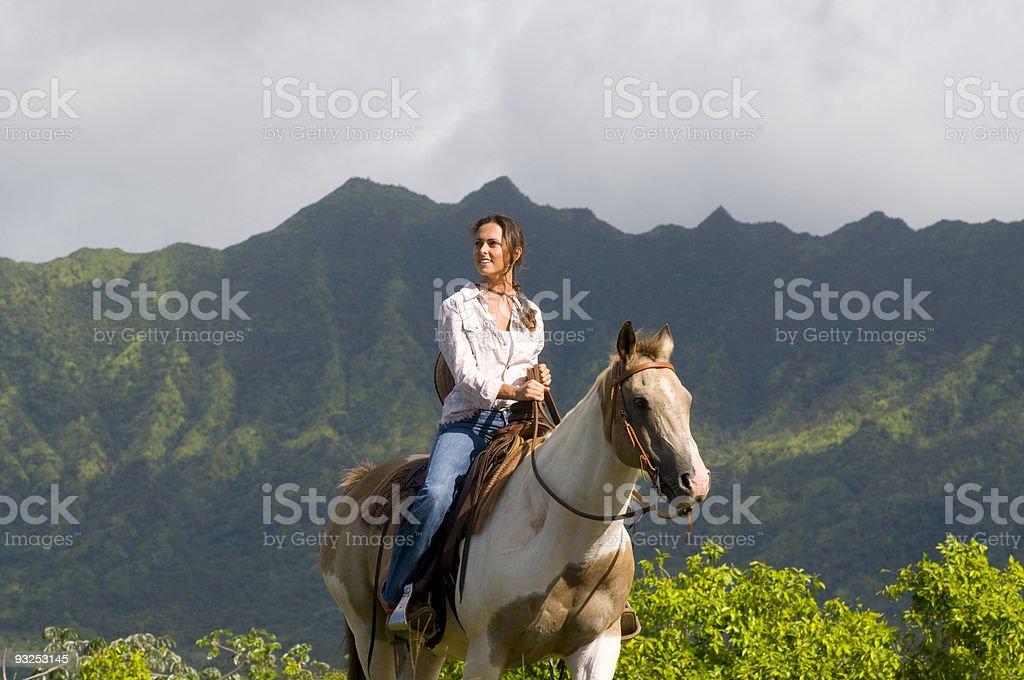 woman horse riding stock photo