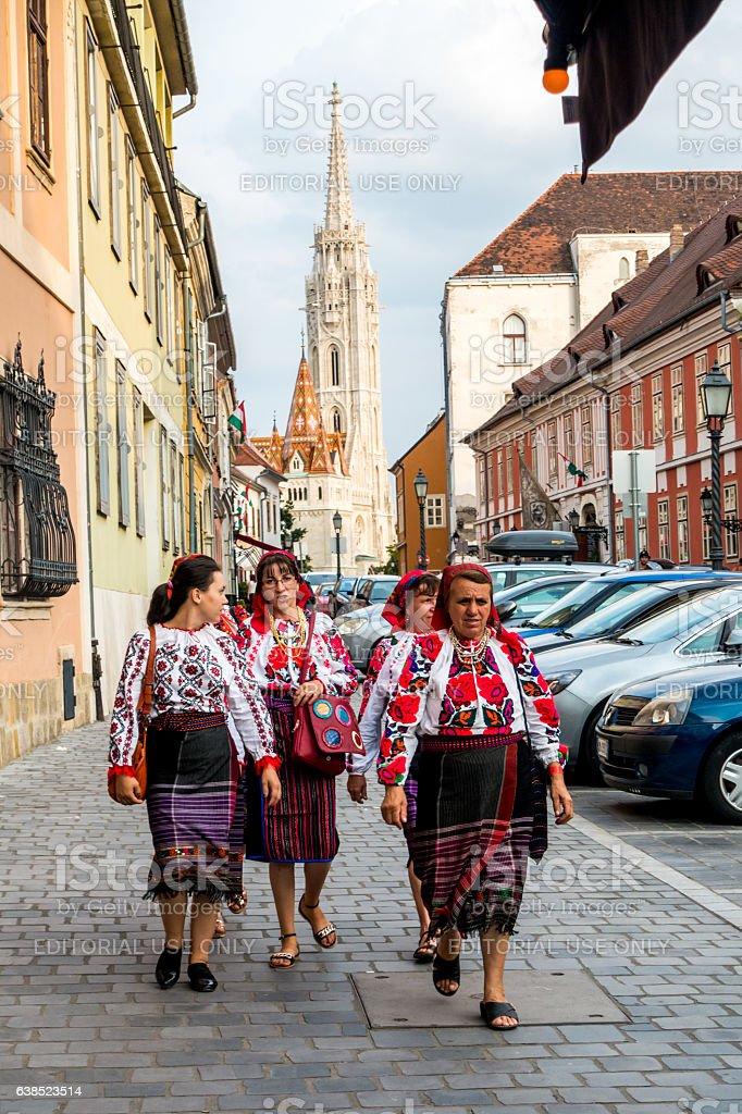 woman hungarian typical magyar budapest matthias church stock photo