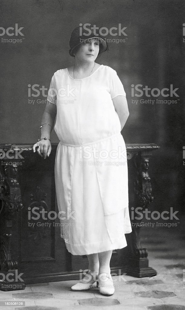 Woman in 1920..Black And White royalty-free stock photo