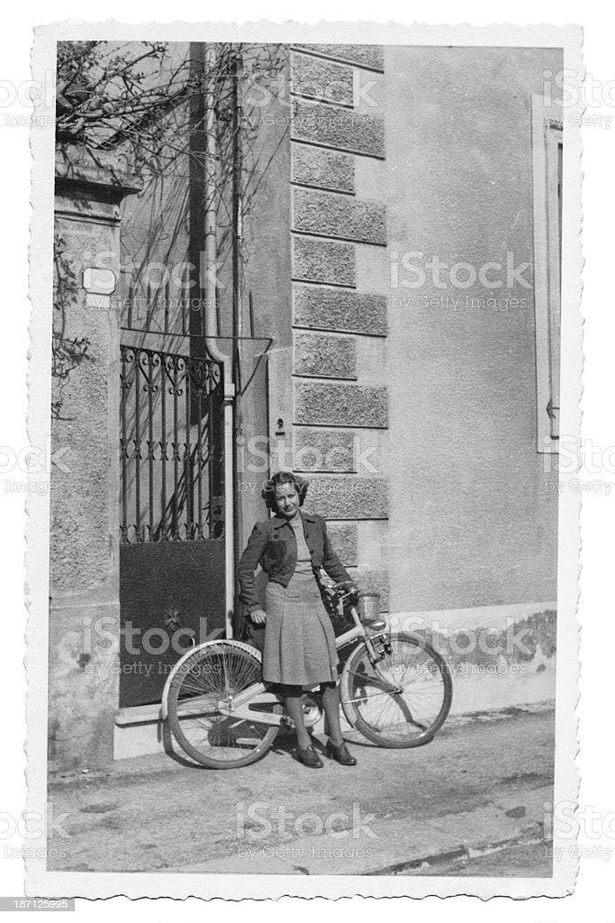 Woman in 1942.Black And White. stock photo