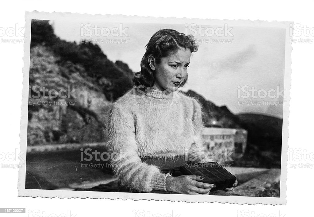 Woman in 1942.Black And White. royalty-free stock photo