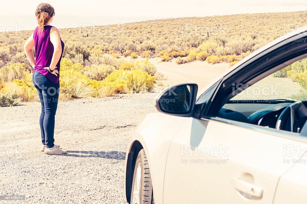 Woman in 30s Looking at Desert View on Road Trip stock photo