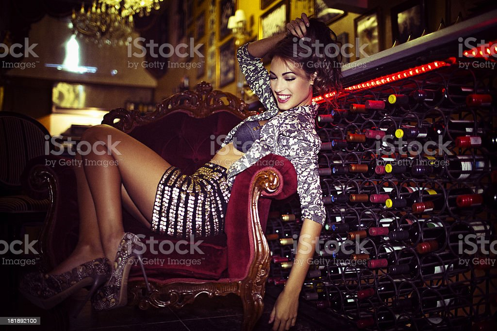 Woman in a bar stock photo