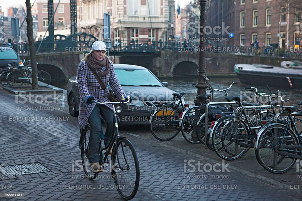 Woman in a bicycle ride royalty-free stock photo