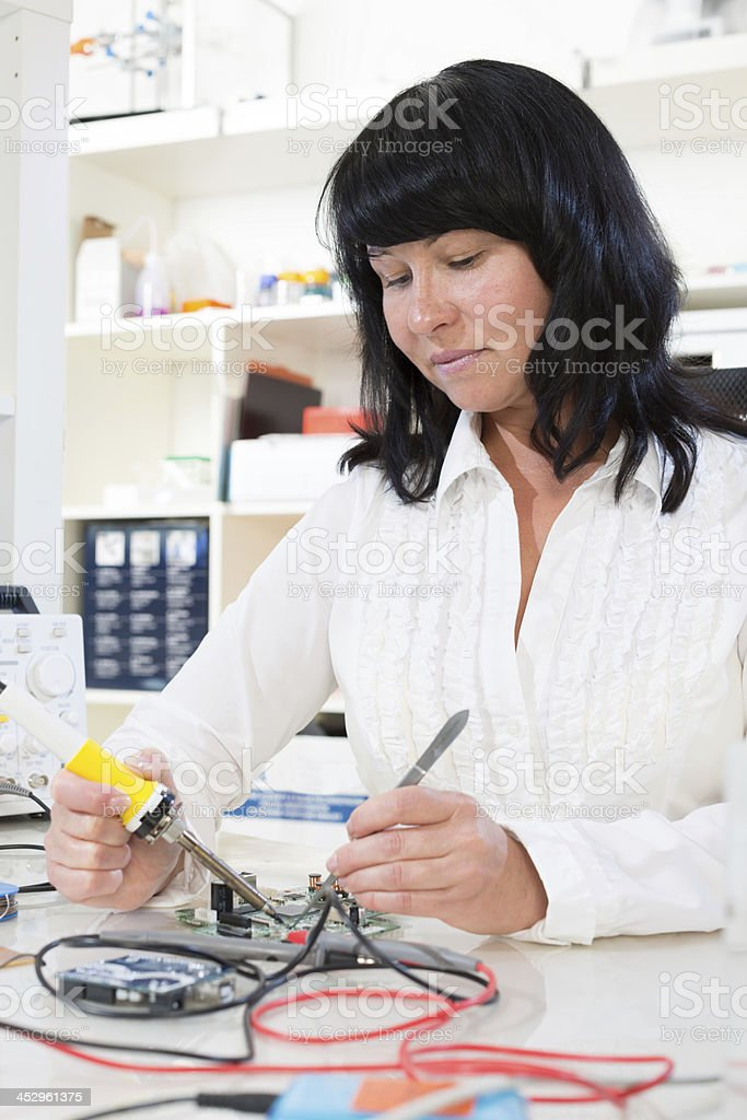 woman in a biological laboratory royalty-free stock photo