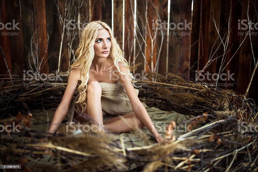 Woman in a bird's nest stock photo