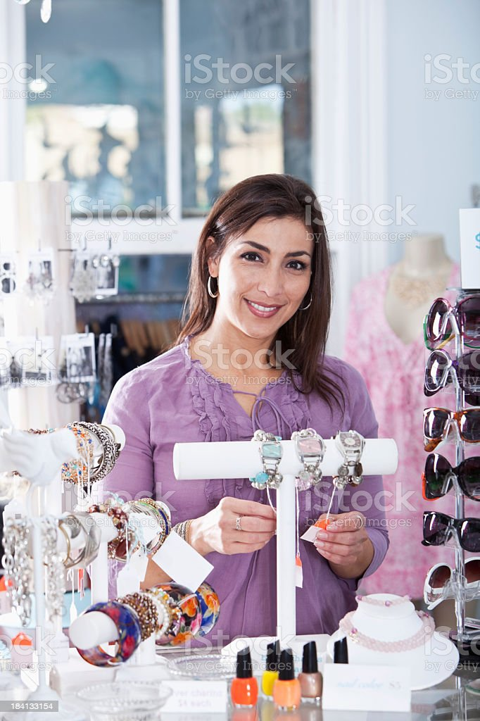 Woman in a boutique stock photo