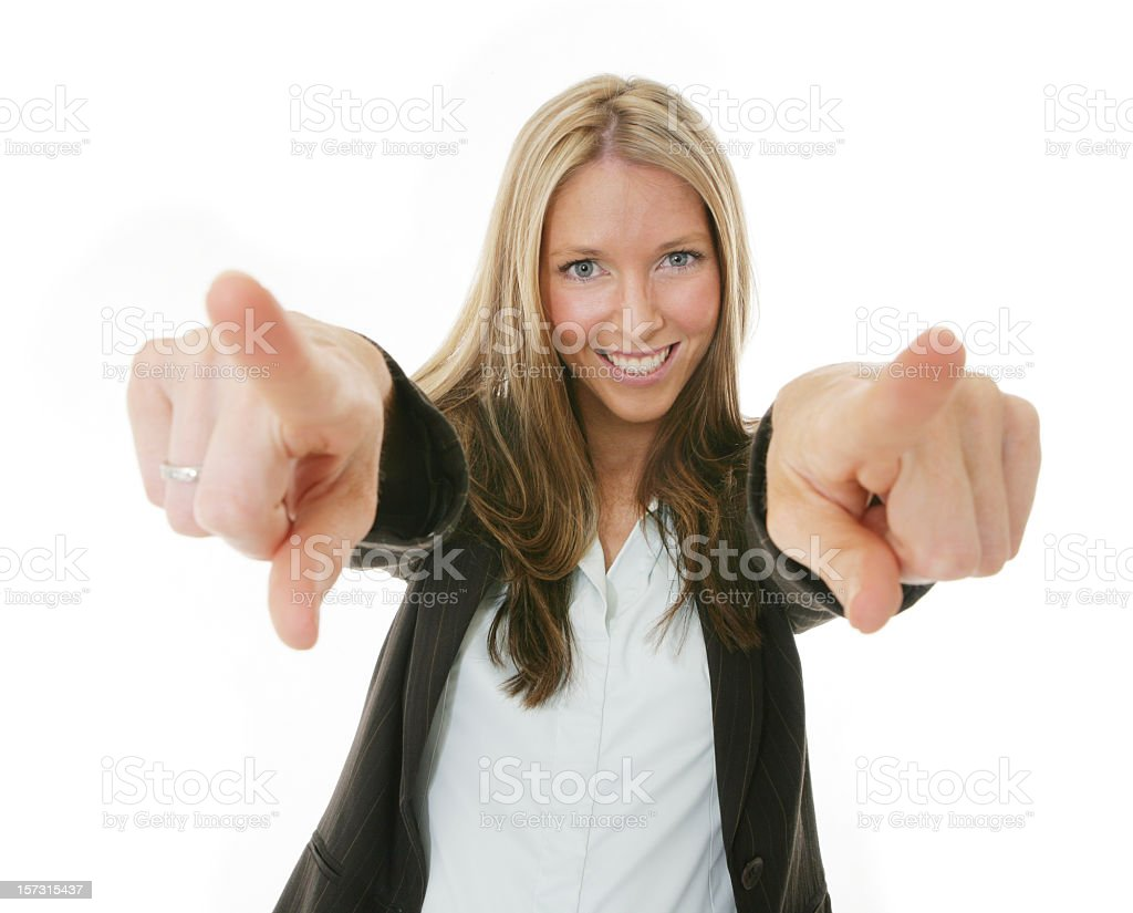 Woman in a business suit pointing both index fingers royalty-free stock photo