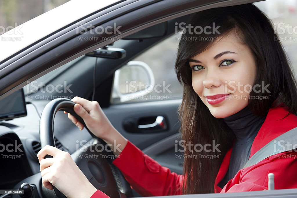 Woman in a car royalty-free stock photo