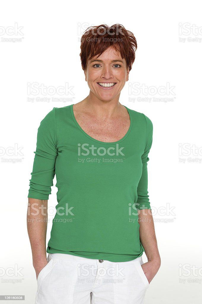 Woman in a casual green top royalty-free stock photo