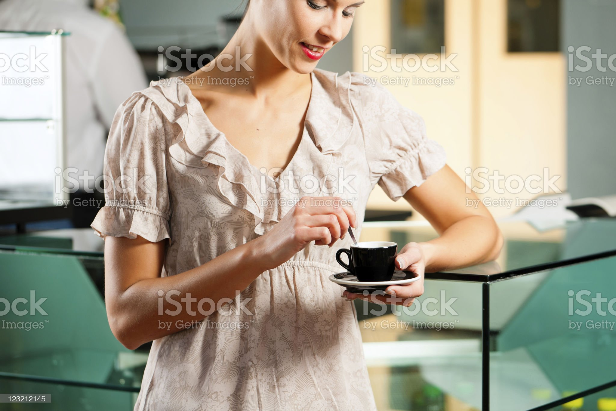 Woman in a coffeeshop royalty-free stock photo