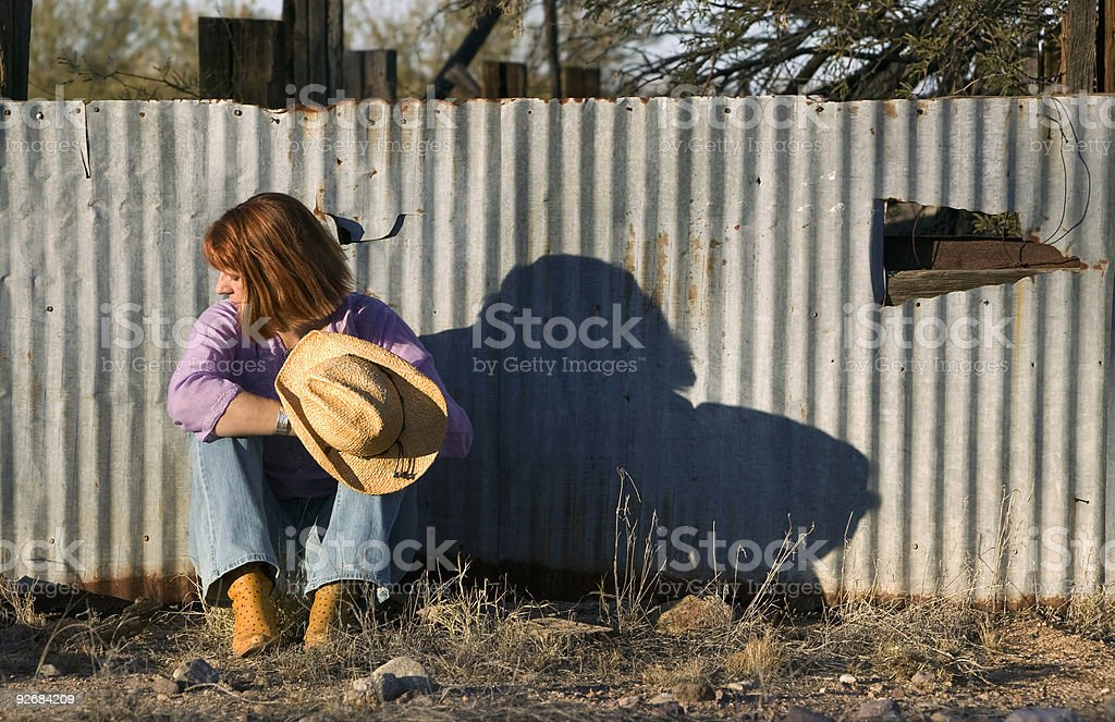 Woman in a Cowboy Hat Looking Right royalty-free stock photo