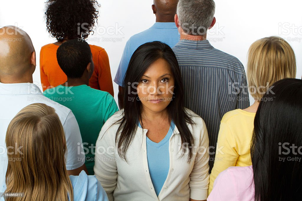 Woman in a crowd royalty-free stock photo