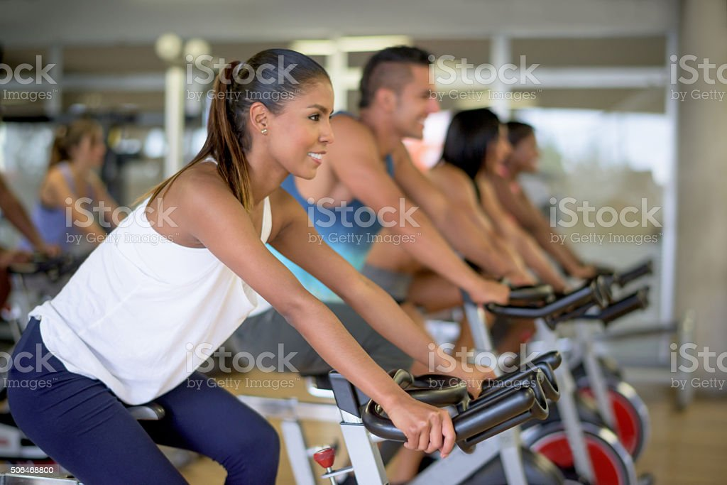 Woman in a spinning class stock photo