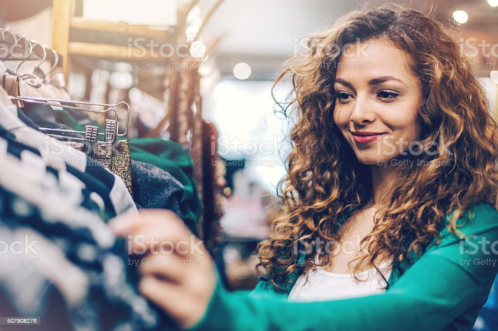 Woman in a fashion store department stock photo