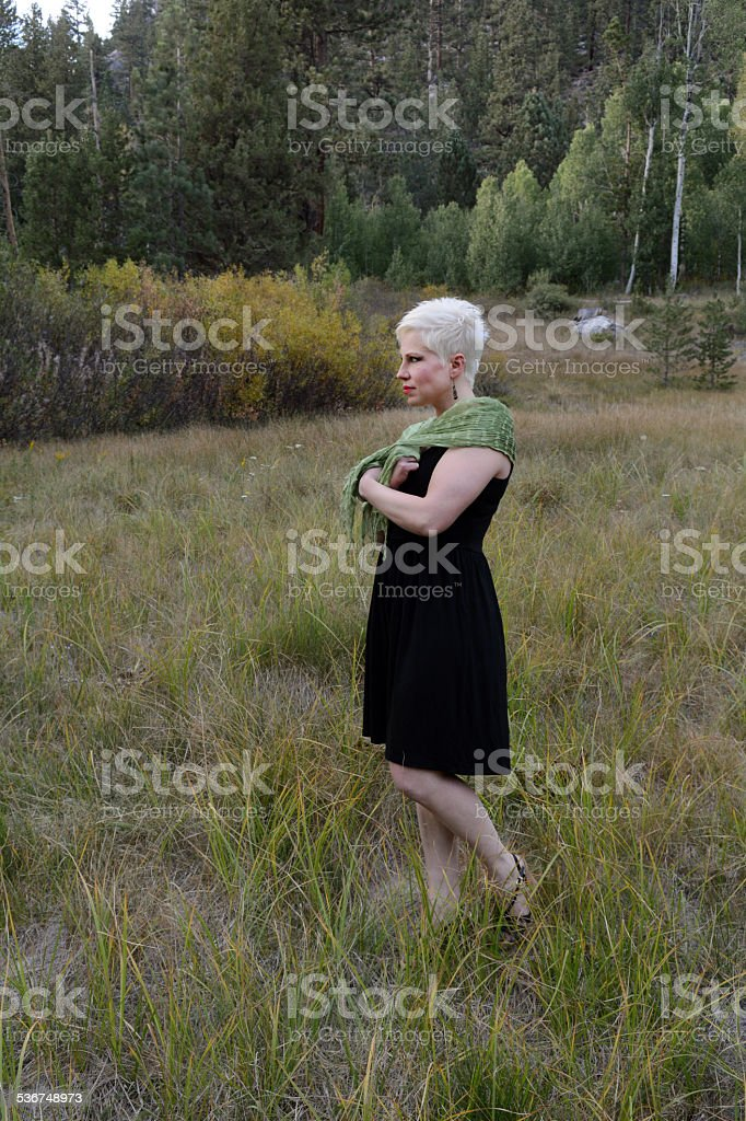 Woman in a Field with a Scarf royalty-free stock photo