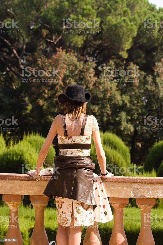 Woman in a garden stock photo