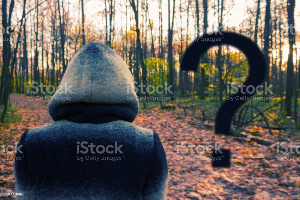 woman in a hood stock photo