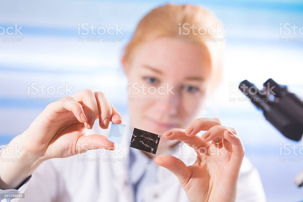 woman in a laboratory microscope with microscope slide in hand stock photo