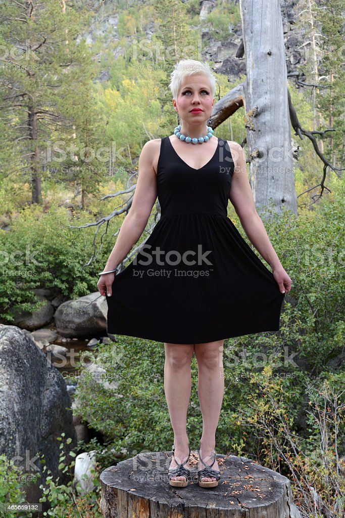 Woman in a Little Black Dress royalty-free stock photo