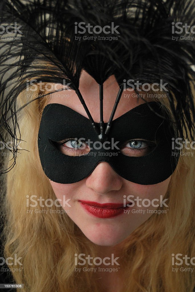Woman in a Mask - front view stock photo