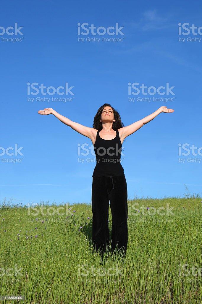 Mujer en un prado foto de stock libre de derechos
