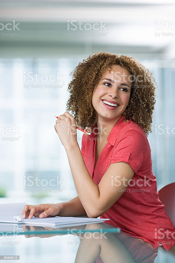 Woman in a meeting royalty-free stock photo