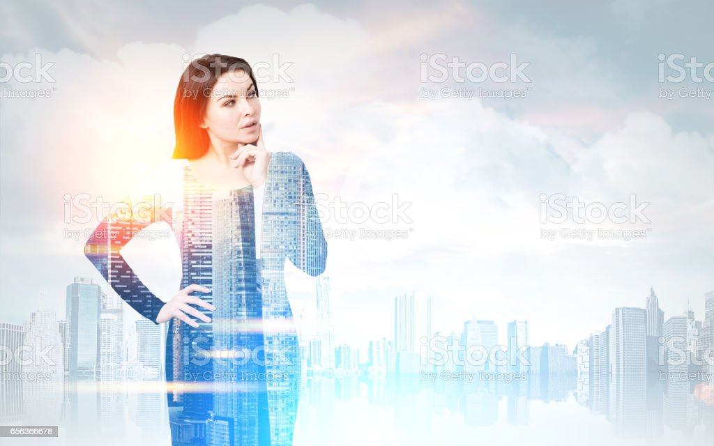 Woman in a morning city stock photo