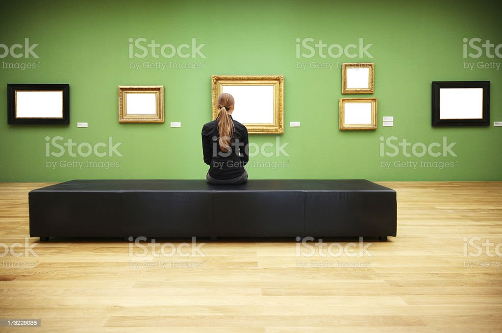 woman in a museum (clipping path) royalty-free stock photo