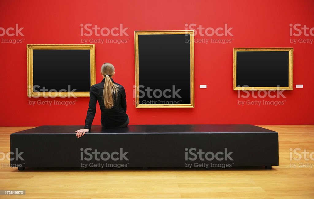 woman in a museum (clipping path) stock photo