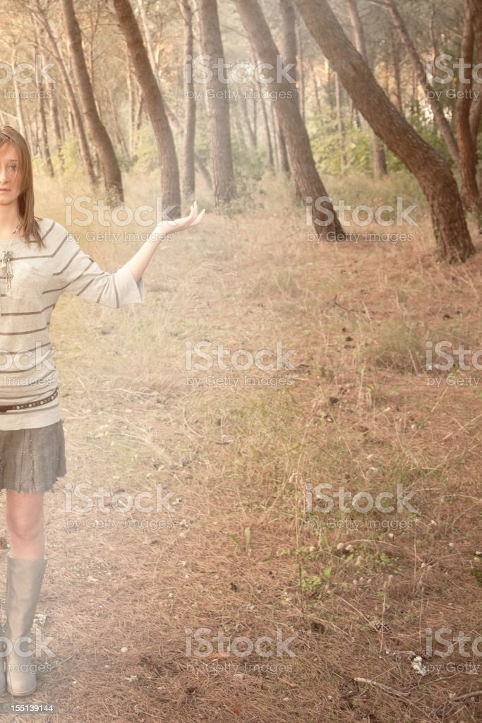 Woman In A Mystical Wood stock photo