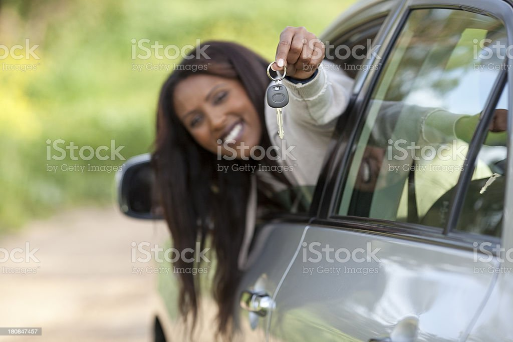 Woman in a new car outdoors. royalty-free stock photo