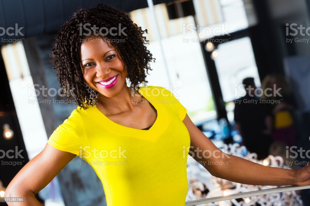 Woman in a Restaurant stock photo