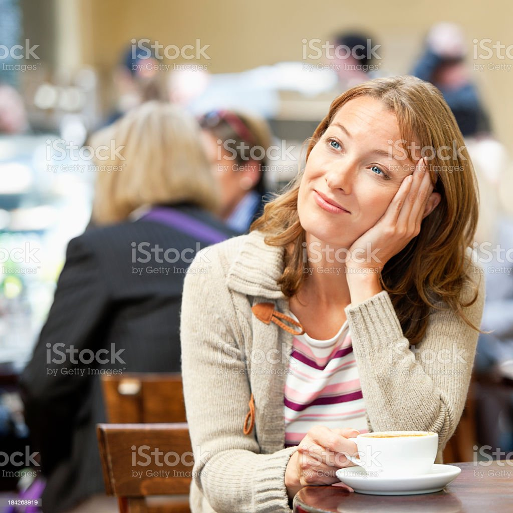 woman in a restaurant royalty-free stock photo