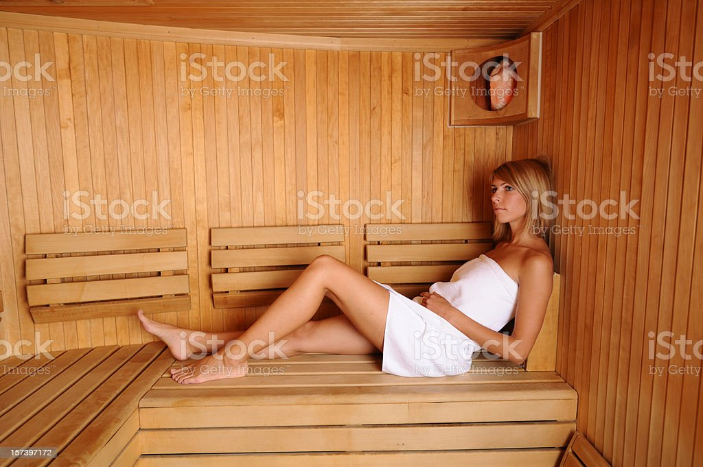 Woman in a sauna royalty-free stock photo