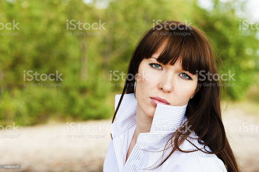 woman in a shirt royalty-free stock photo