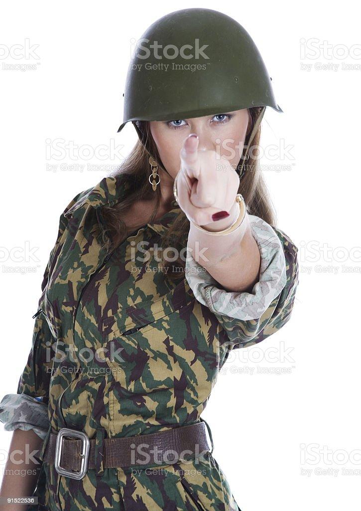 woman in a steel helmet royalty-free stock photo