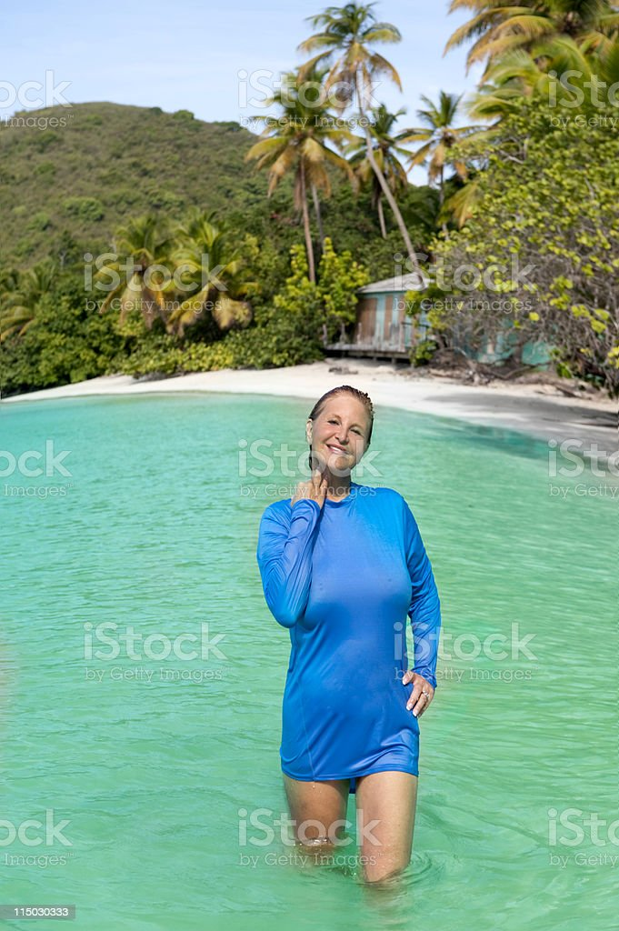 woman in a tropical beach paradise royalty-free stock photo