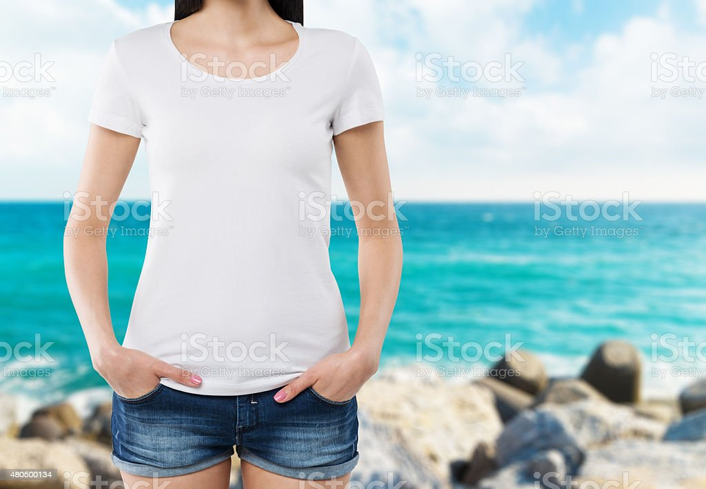 woman in a white t-shirt. stock photo